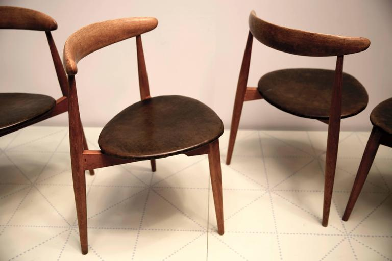 """Danish Set of Four Stacking """"The Heart"""" Dining Chairs, Model FH-4103 by Hans Wegner For Sale"""