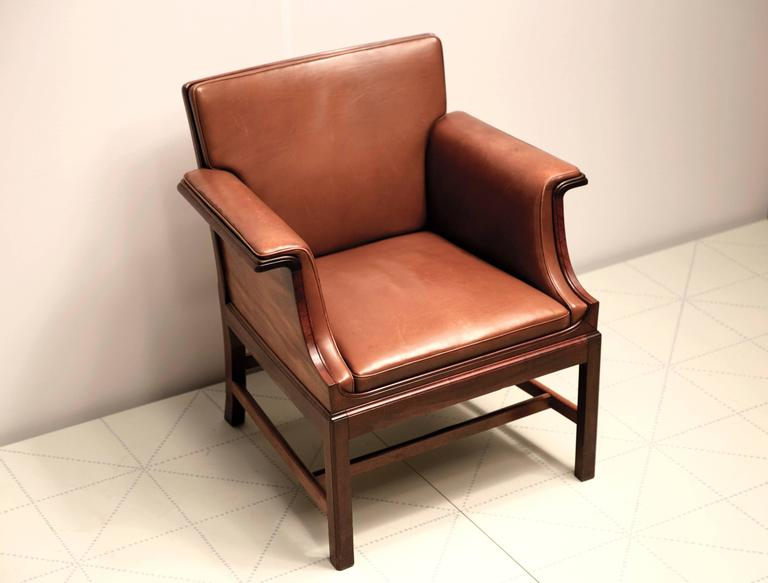 Scandinavian Modern Armchair in Cuban Mahogany by Ole Wanscher For Sale
