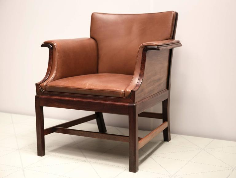 Danish Armchair in Cuban Mahogany by Ole Wanscher For Sale