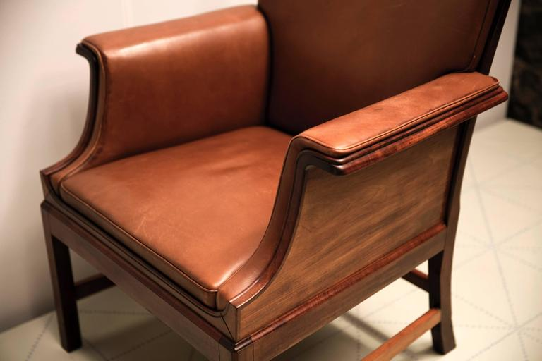 Leather Armchair in Cuban Mahogany by Ole Wanscher For Sale