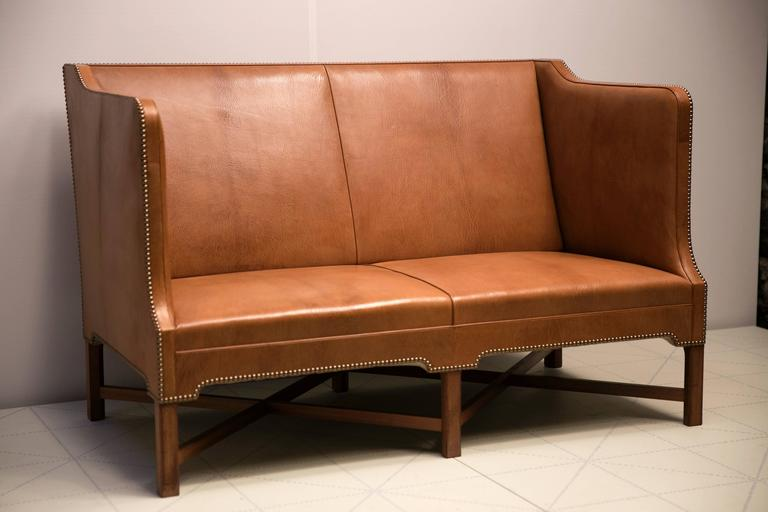 Scandinavian Modern 2 1/2 Person Sofa in Nigerian Goatskin on Cuban Mahogany Legs by Kaare Klint For Sale