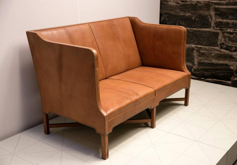2 1/2 Person Sofa in Nigerian Goatskin on Cuban Mahogany Legs by Kaare Klint In Excellent Condition For Sale In New York, NY