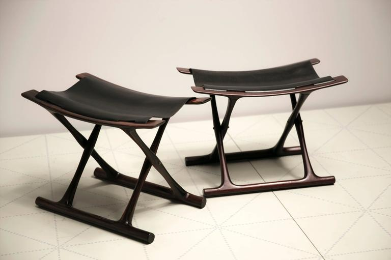 Egyptian Folding Stool in Indian Rosewood by Ole Wanscher In Excellent Condition For Sale In New York, NY
