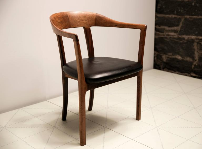 1958 Armchair in Brazilian Rosewood and Original Leather by Ole Wanscher 2