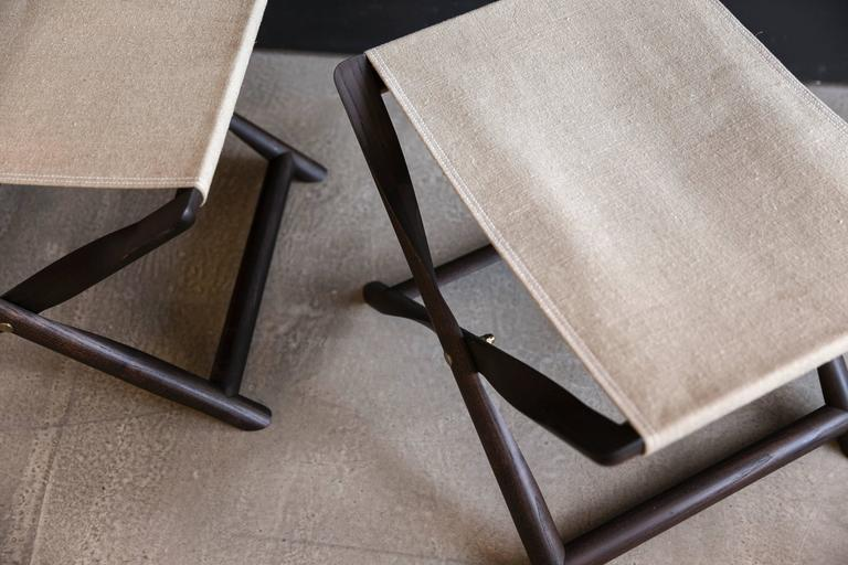 Scandinavian Modern Pair of Propeller Stools in Fumed Ash with Linen Seats by Kaare Klint For Sale