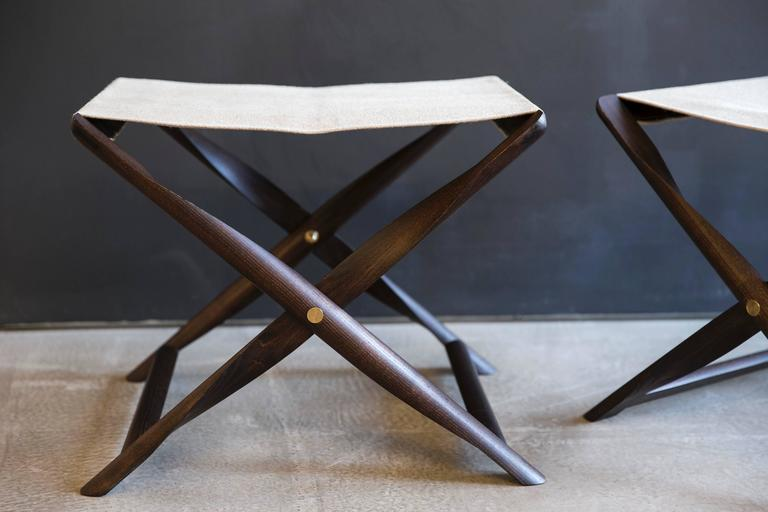 Danish Pair of Propeller Stools in Fumed Ash with Linen Seats by Kaare Klint For Sale