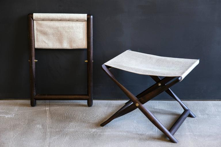 Pair of Propeller Stools in Fumed Ash with Linen Seats by Kaare Klint In Excellent Condition For Sale In New York, NY
