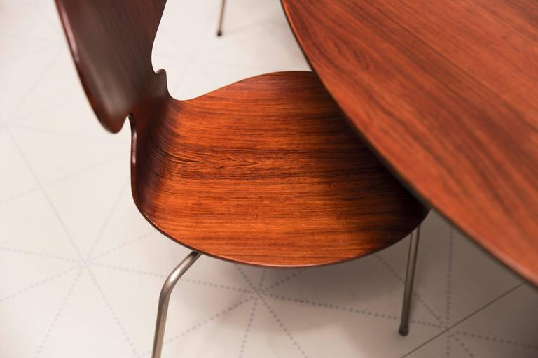Steel Exceptional Early Brazilian Rosewood Egg Table and Ant Chairs by Arne Jacobsen  For Sale