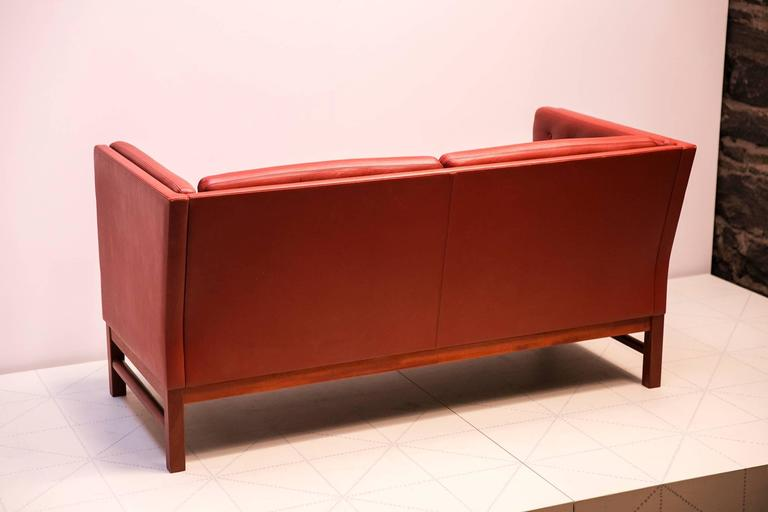 Leather Freestanding Two-Seat Sofas with Button Fitted Cushions by Erik Ole Jørgensen For Sale