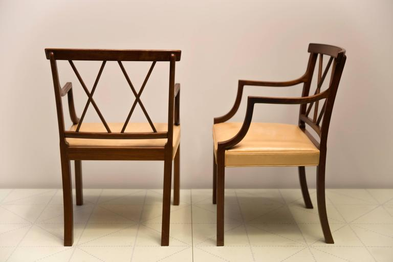 Scandinavian Modern Four Elegant Armchairs by Ole Wanscher, Cuban Mahogany and Original Pale Leather For Sale