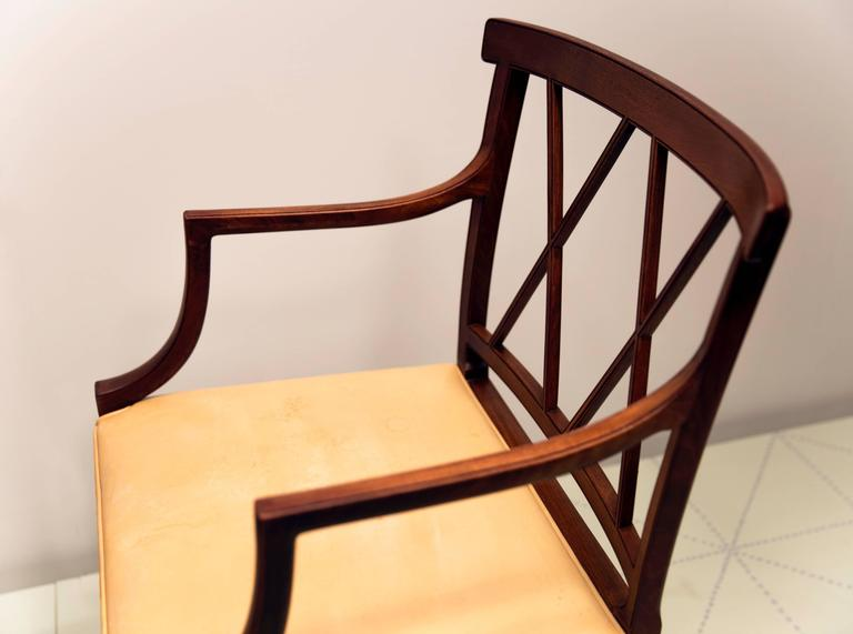Danish Four Elegant Armchairs by Ole Wanscher, Cuban Mahogany and Original Pale Leather For Sale
