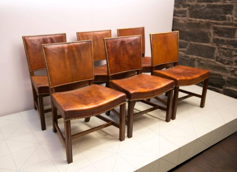 "Scandinavian Modern Six Large ""Red Chairs"" by Kaare Klint in Original Patinated Nigerian Goatskin For Sale"