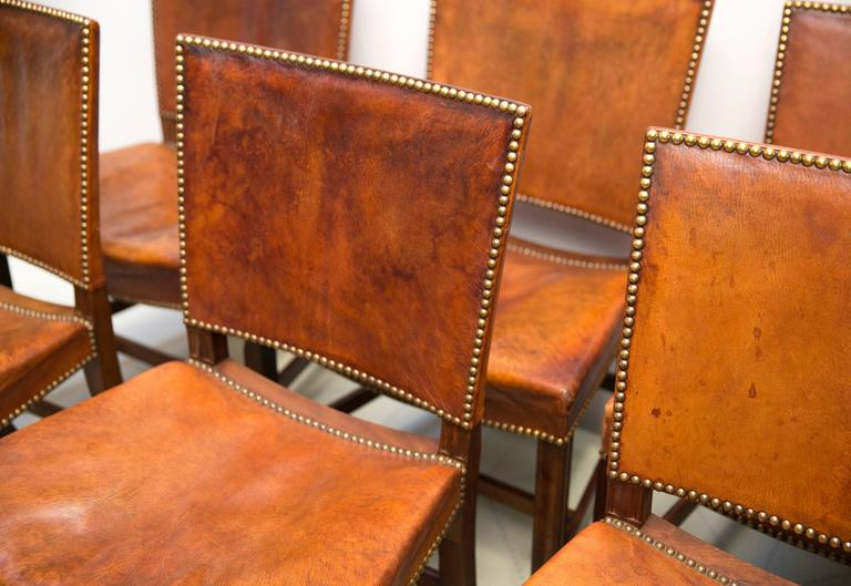 "Danish Six Large ""Red Chairs"" by Kaare Klint in Original Patinated Nigerian Goatskin For Sale"