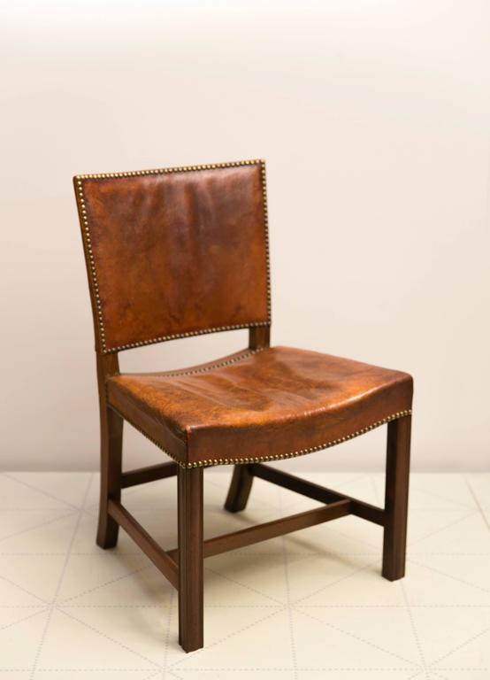 "Early 20th Century Six Large ""Red Chairs"" by Kaare Klint in Original Patinated Nigerian Goatskin For Sale"