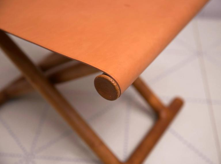 Danish Mogens Lassen's, 1946 Egyptian Folding Stool in Ash and Natural Leather For Sale