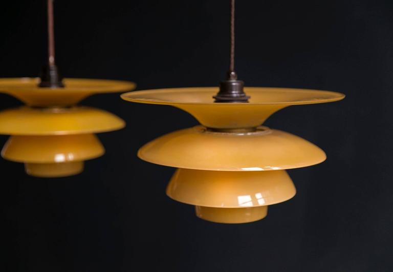 Scandinavian Modern Poul Henningsen 4/ 3.5 /3 Four-Shade Pendant Lamps in Yellow Painted Matt Glass For Sale
