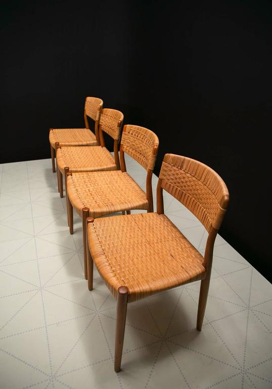 Scandinavian Modern Set of Four Dining Chairs by Ejner Larsen and Axel Bender Madsen by Willy Beck For Sale