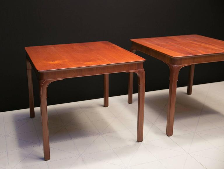 Scandinavian Modern Frits Henningsen's Monumental Side Tables, Solid Cuban Mahogany and Carved Legs For Sale