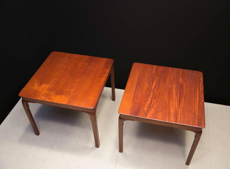 Danish Frits Henningsen's Monumental Side Tables, Solid Cuban Mahogany and Carved Legs For Sale
