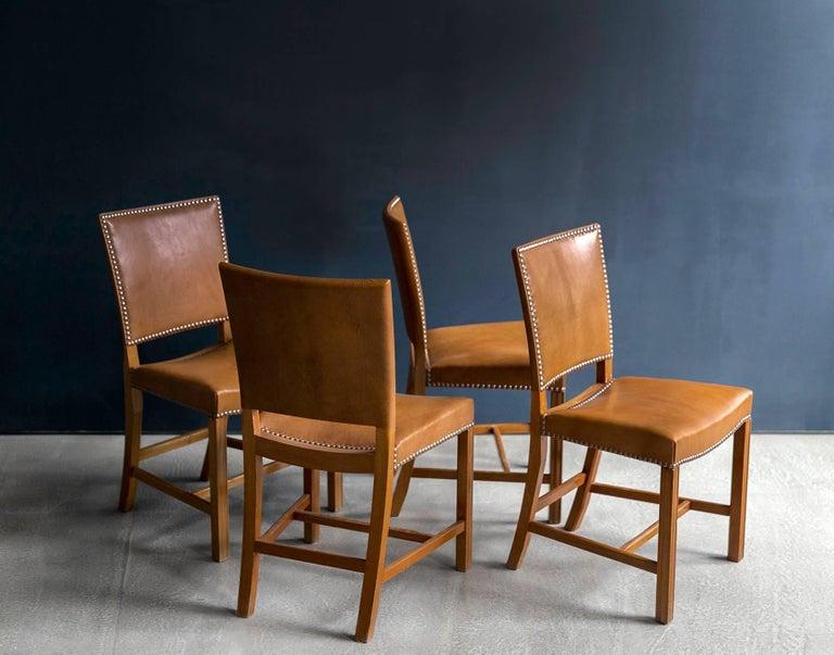 Scandinavian Modern Kaare Klint Set of 12 'Red Chairs' Model KK39490, Nigerian Goatskin Upholstery For Sale