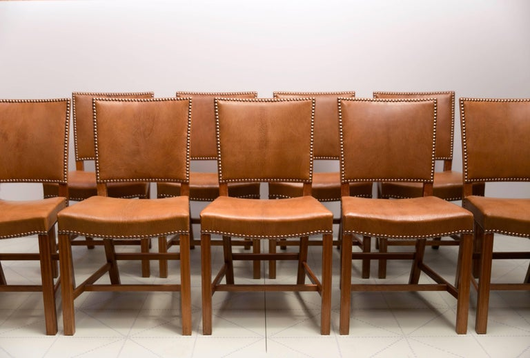 Danish Kaare Klint Set of 12 'Red Chairs' Model KK39490, Nigerian Goatskin Upholstery For Sale