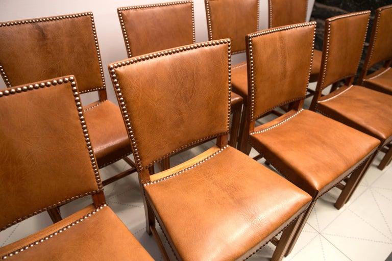 Early 20th Century Kaare Klint Set of 12 'Red Chairs' Model KK39490, Nigerian Goatskin Upholstery For Sale