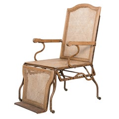 19th Century Reclining Caned and Wrought Iron Lounge Chair