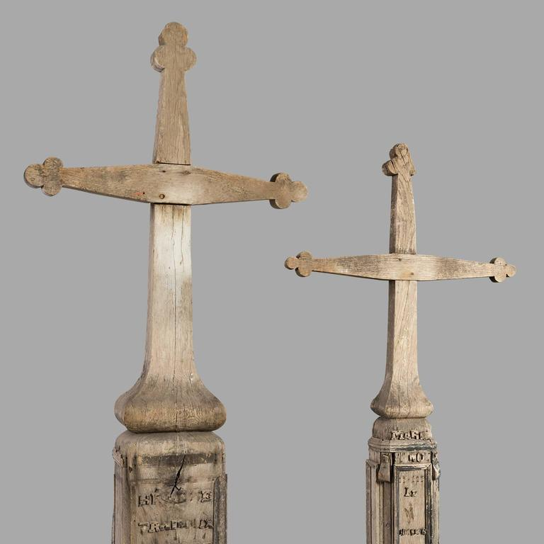 French Two Huge 1890s Old Wood Cemetery Crosses For Sale