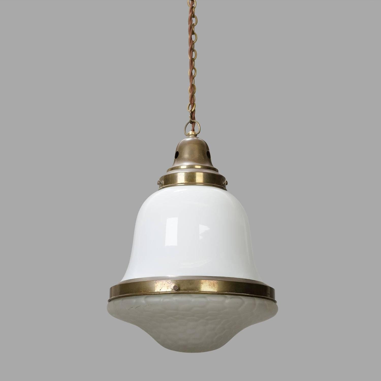 Small Pendant light in Brass and Glass circa 1930 at 1stdibs