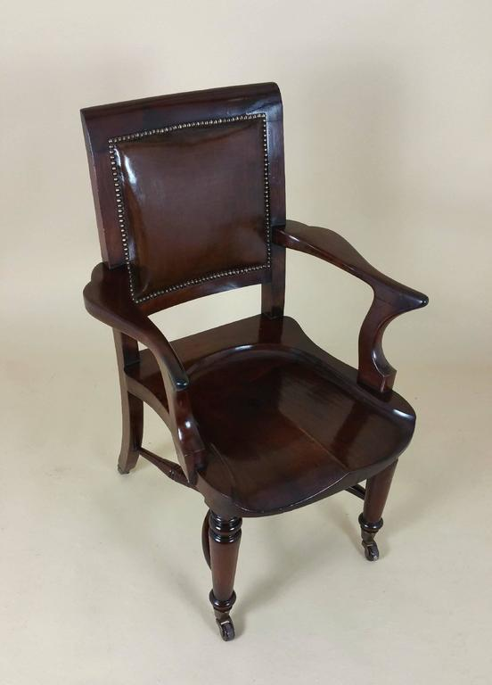 victorian mahogany solid seat desk chair with leather back for sale