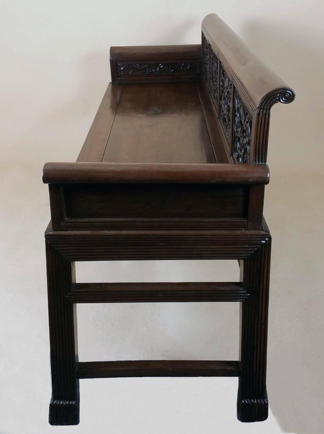 Th century chinese carved hardwood bench for sale at stdibs