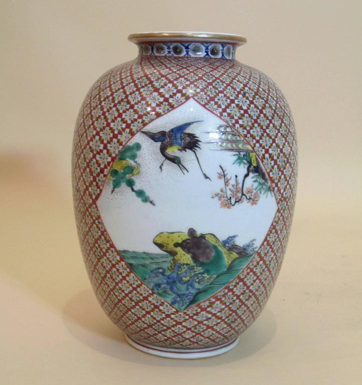 Mid 19th C Japanese Ko Kutani Pottery Vase At 1stdibs