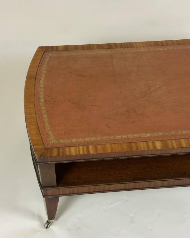 art deco mahogany satinwood coffee table with leather top at 1stdibs