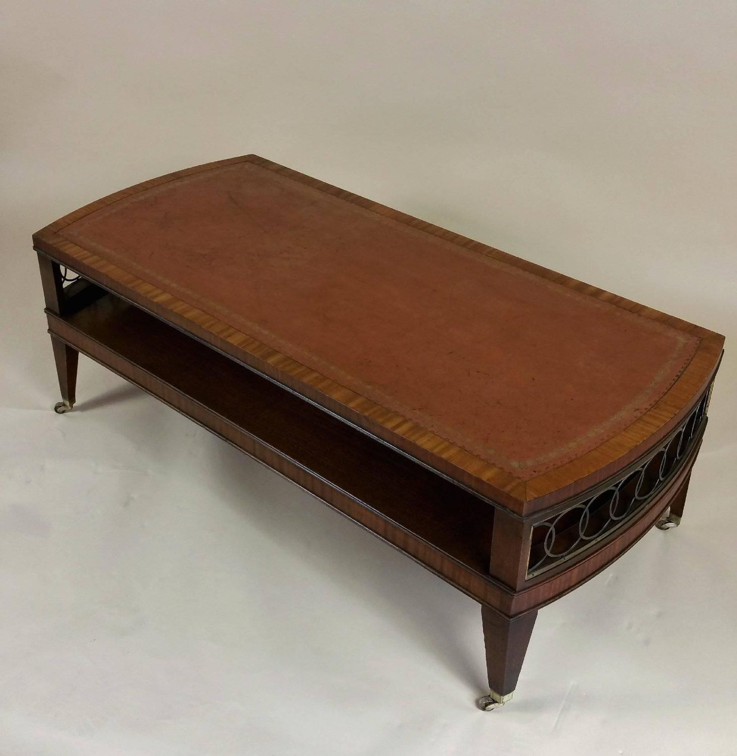 Coffee Table With Leather Top: Art Deco Mahogany Satinwood Coffee Table With Leather Top