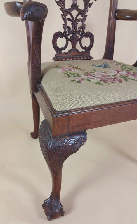Edwardian Chippendale Style Carved Elbow Chair 2