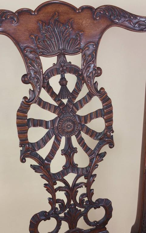 Edwardian Chippendale Style Carved Elbow Chair 4