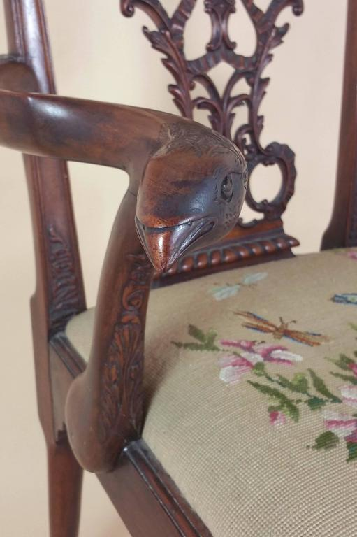 Edwardian Chippendale Style Carved Elbow Chair 6