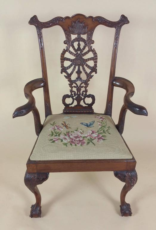 Edwardian Chippendale Style Carved Elbow Chair 7