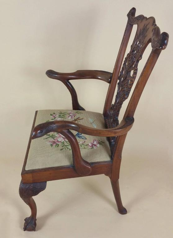 Edwardian Chippendale Style Carved Elbow Chair 8