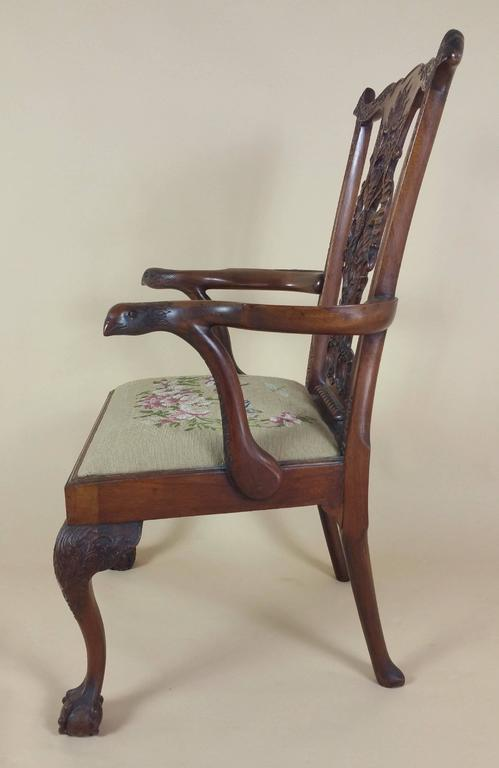 Edwardian Chippendale Style Carved Elbow Chair 9