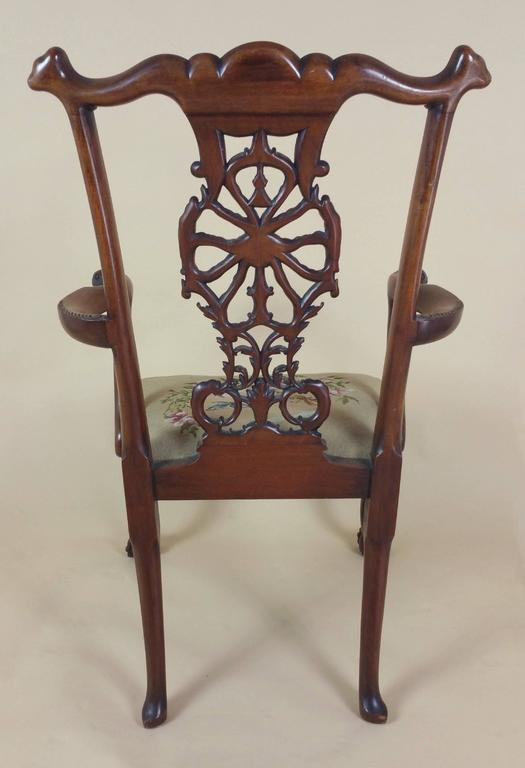 Edwardian Chippendale Style Carved Elbow Chair 10
