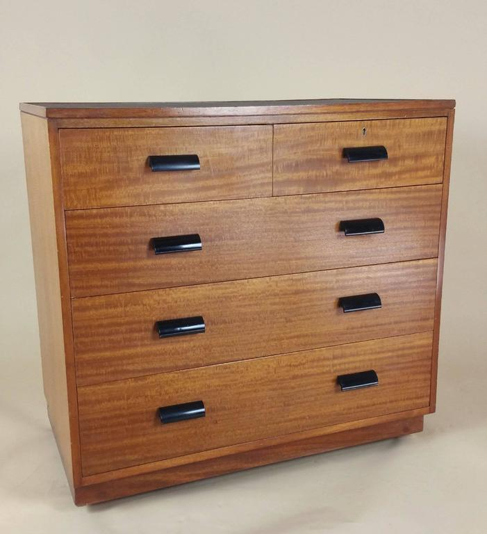 Pair of Early 20th Century Teak Chest of Drawers with Faux Shagreen Inset Tops In Excellent Condition In London, GB