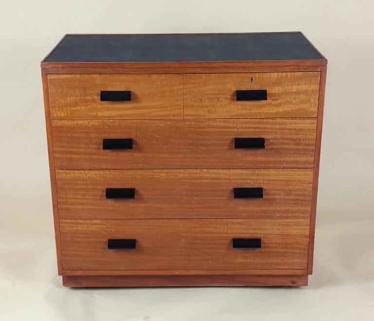 Pair of Early 20th Century Teak Chest of Drawers with Faux Shagreen Inset Tops 4