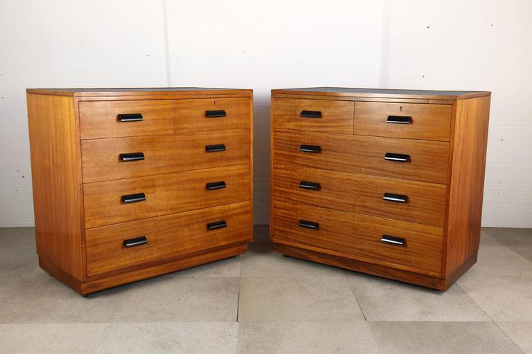 Pair of Early 20th Century Teak Chest of Drawers with Faux Shagreen Inset Tops 6