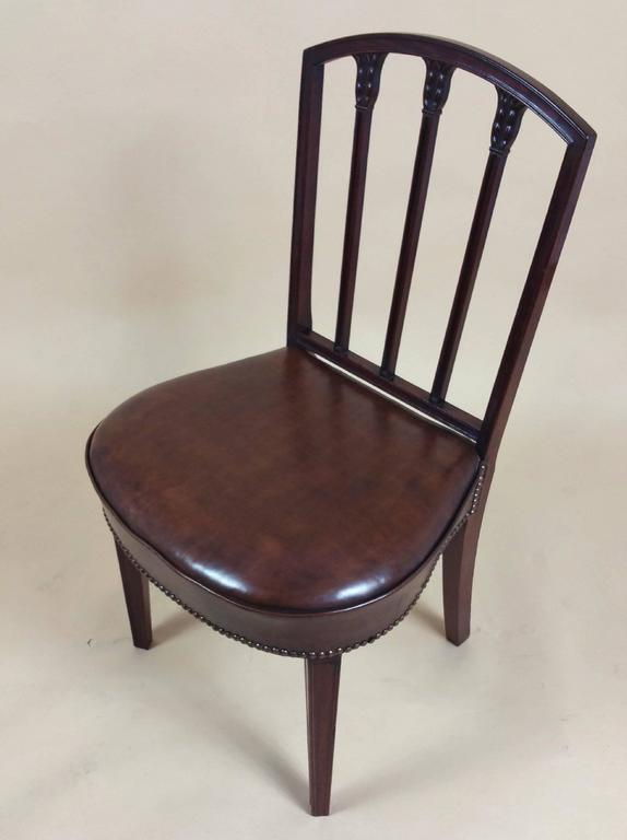 Carved Rare Set of Ten English Mahogany 18th Century Sheraton Dining Chairs For Sale
