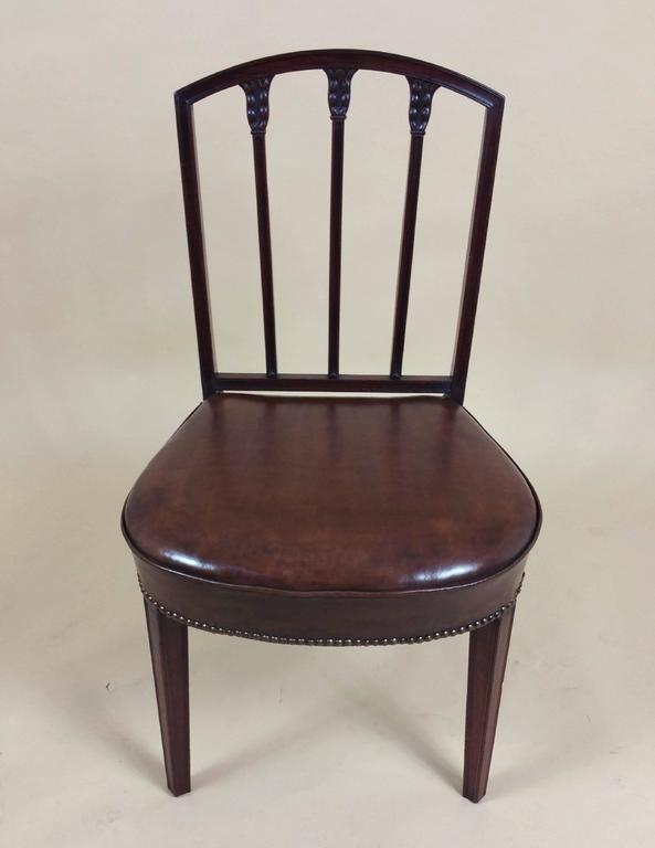 Rare Set of Ten English Mahogany 18th Century Sheraton Dining Chairs In Excellent Condition For Sale In London, GB