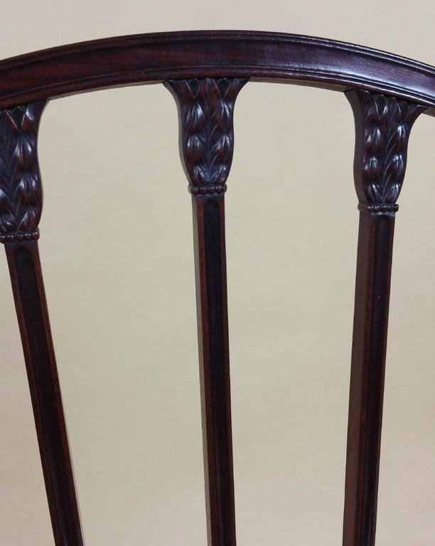 Brass Rare Set of Ten English Mahogany 18th Century Sheraton Dining Chairs For Sale