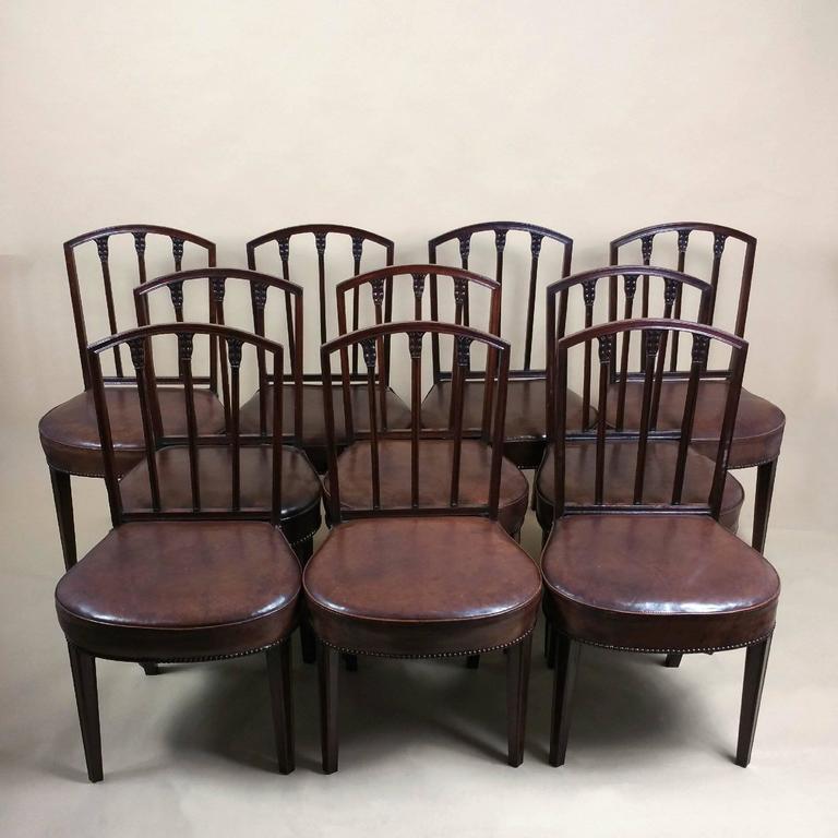Rare Set of Ten English Mahogany 18th Century Sheraton Dining Chairs For Sale 5
