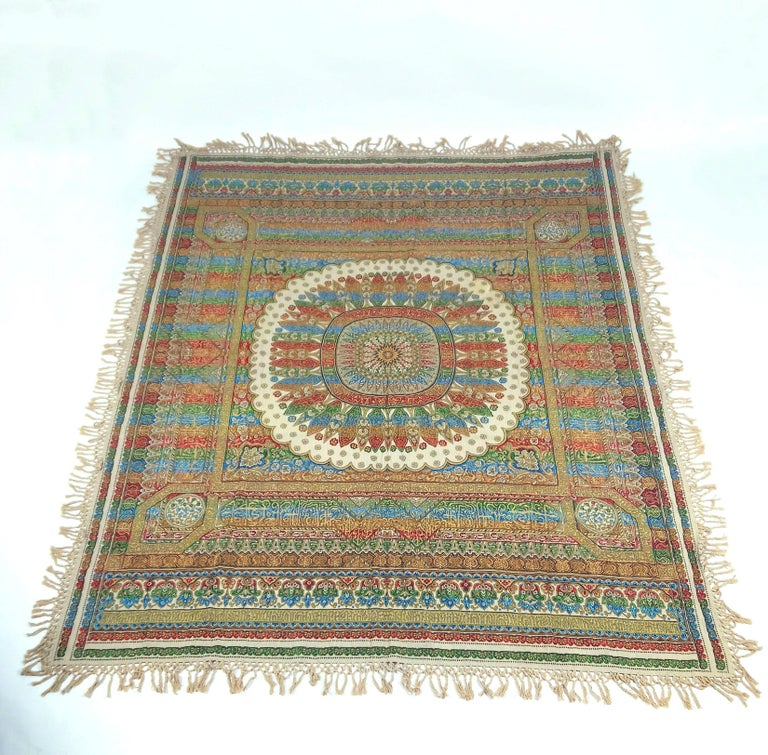 Early 20th Century Indian Worked Silk Wall Hanging or Bed Cover 10