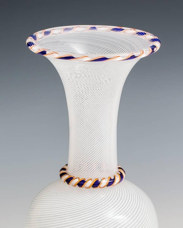 Fine White Spiral Vase By Saint Louis Unusually With Blue And Yellow